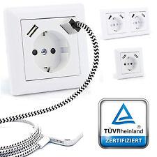 230 V Schuko Steckdose Unterputz mit 2 x USB Ladegeräte passend für Gira 55 Weiß