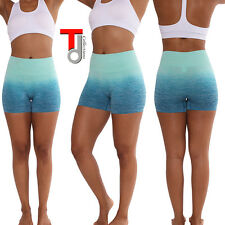 Two Tone Color Waistband Athletic Yoga Shorts Pants Polyester Spandex