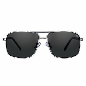 Tom Martin Sunglasses Barstow – Rectangular Aviator (Silver Frame/Smoke Black)