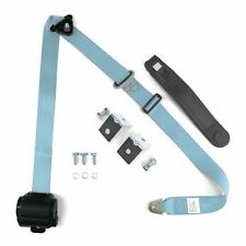 3pt Sky Blue Retractable Seat Belt With Mounting Brackets - Standard Buckle