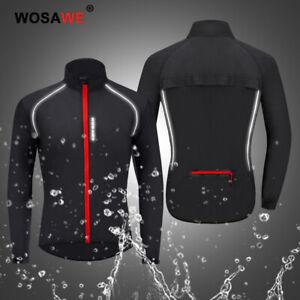 Mens Long Sleeve Cycling Jacket Waterproof Windproof Running Top Rain Coat Black