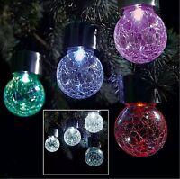 Stainless Steel Solar Powered Hanging Crackle Globe Ball Lights Outdoor Garden