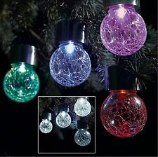 Solar Powerwed Stainless Steel Hanging Crackle Globe Ball Lights Outdoor Garden 3 White LED 36086SL