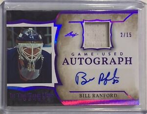 BILL RANFORD 2020 LEAF AUTHENTIC AUTOGRAPH GAME USED RELIC CARD #/d 2/15 NHL