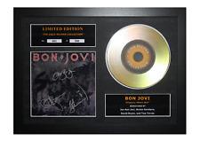 More details for bon jovi signed gold disc album ltd edition framed picture memorabilia