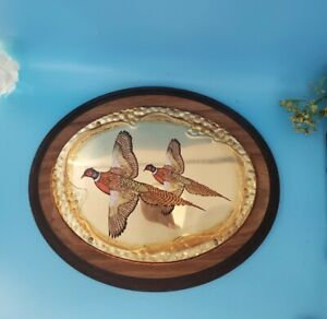 "Vintage Pheasant Wood Wall Hanging Plaque Gold Tone Metal Oval 11"" Across"