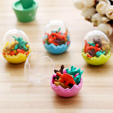 8Pcs Mini Kawaii Dinosaur Egg Pencil Rubber Eraser with Stationery Egg Stud P0R3