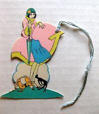 Vintage Bridge Tally Dog and Cat Running Around Flapper Woman w/ Cloche Hat