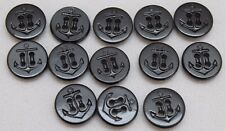 US Navy Black Plastic Anchor uniform Buttons 5/8in 16mm 24L lot of 13 B9005