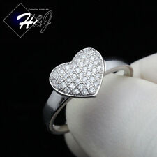 WOMEN 925 STERLING SILVER GOLD/SILVER ICED HEART SHAPE ENGAGEMENT RING*SR100