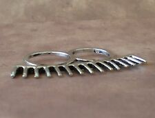 Spike Double Finger Ring Silver Spiked Brass Knuckle Style Ring Gothic Punk