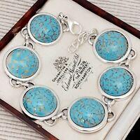 Vintage 1950s Turquoise Blue Marble Peking Cabochon Bracelet - Large Fit