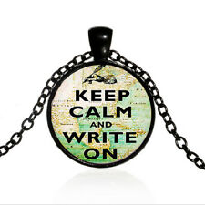 Cabochon Black Glass Chain Pendant Necklace Keep Calm and Write On jewelry