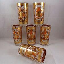Vintage Fred Press Collins Glasses Orange Horse Set of 6