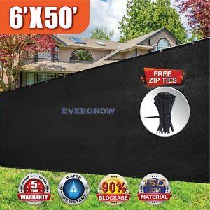Black 6' x50' Privacy Screen Mesh Fence Cover Windscreen Fabric Slat Yard Garden