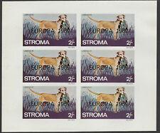 GB Locals - Stroma (1812) 1969 EUROPA overprint on DOGS imperf sheet of 6 u/m