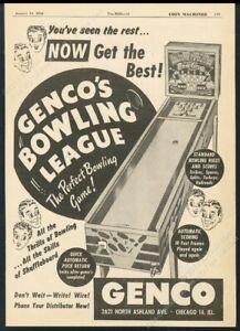 1950 Genco Bowling League coin-op bowler machine photo vintage trade print ad