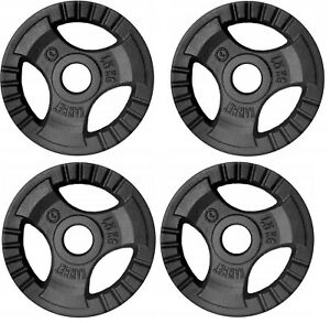 4x 1.25kg Cast Iron Tri-Grip Weight Plates Set -Barbell Dumbbell Lifting Workout
