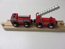 Feuerwehr-Zug mit Anhänger für Holzeisenbahn passend zu Brio, Eichhorn usw.