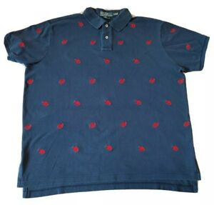 MENS VINTAGE POLO RALPH LAUREN POLO SHIRT PATTERN EMBROIDERED LOBSTER XXL 2XL