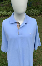 BURBERRY LONDON Mens 2XL Baby Blue Pique Polo Shirt Nova Check Placket S/S Logo