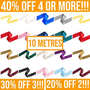 10 Metres Double Satin Ribbon Rolls 6/10/15/25/38mm. Crafting, Cake Hair Ribbons