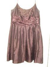 Women's Jones Wear Brown Satin Floral Embroidered Formal Dress Prom Short XL 16