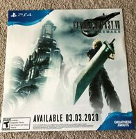 "Final Fantasy 7 VII Remake Promo Poster 23"" x 23"" 03.03.2020 Release Date PS4"