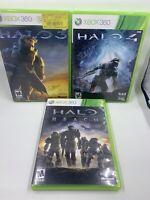 Halo 3, Halo 4, Halo Reach Xbox 360 Lot Bundle Tested Works Free Shipping