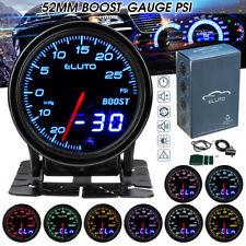 ELUTO 2'' 52mm Car Turbo Boost Gauge PSI  Press Meter Analog/Digital Display 12V