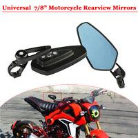 2X Universell 7/8 Zoll Motorrad Spiegel Lenkerendenspiegel Rueckspiegel  Noir