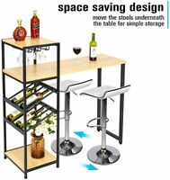 Counter Height Bar Table Rectangle Bistro Desk Wine Rack Holder Metal Kitchen US