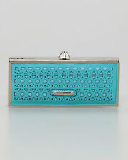 Rebecca Minkoff Rex Minaudiere Party Evening Bag Laser-cut Leather Turquoise