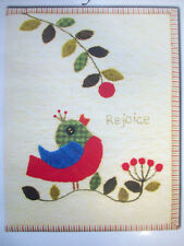 Rejoice! Notebook Journal cover wool embroidery bird reaching for berry pattern