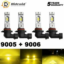 9005 9006 Combo 3000K Golden Yellow LED Headlight Kit High Beam + Low Beam Bulbs