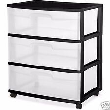 3 Drawer Clear Plastic Storage Organizer Big Home Garage Rolling Wide Cart Black