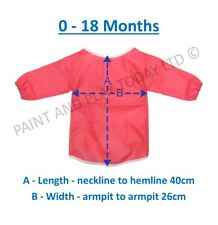 Childrens Kids Waterproof Apron Smock Painting Art Craft - Pink - Choose Size