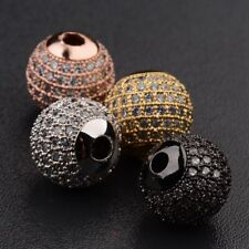 10pcs 8mm Brass Clear Cubic Zirconia Stones Pave Micro Disco Ball Spacer Beads