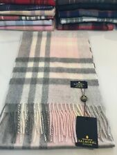Womans Ladies Pure Cashmere Scarf Long Warm Exploded Thomson Pink Grey Check New