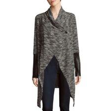 Bobi Tweed Women's Cardigan Sweater Duster Button Black White Size Large NWT!