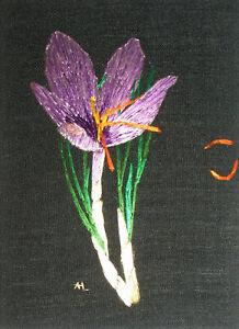 "ACEO Original ""Saffron Crocus"" Silk Hand Embroidery - A Lobban"