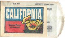 1960's California State Golden Poppy Flower Vintage Ori Baxter Lane Travel Decal