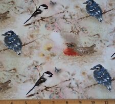 Birds Garden Melodies Fabric Fat Quarter Cotton Robin Chickadee Quilt Sew
