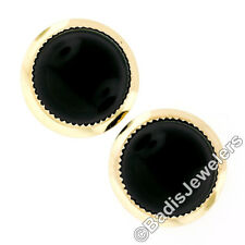 Vintage 14K Yellow Gold Round Cabochon Black Onyx Button Earrings w/ Plain Frame