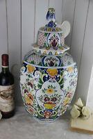 Huge DELFT polychrome ceramic Floral paint VASE foo dog lidded marked