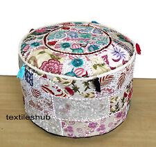 Indian White Pouf Cover Cotton Ottoman Handmade Sari Patchwork Floor Sofa Throw