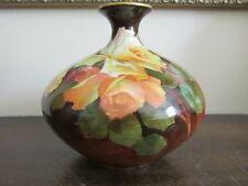 Antique Habsburg Austria Handpainted Vase Roses Signed P. Cary Numbered