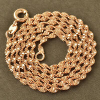 Trendy Classic 9K Rose Gold Filled Water-Wave Chain Necklace For Women Gift