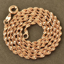 Water-Wave Womens Chain Necklace,Z4578 Classic 9K Rose Gold Filled