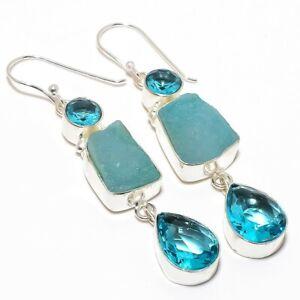 "Blue Titanium Druzy, Blue Topaz Silver Fashion Jewelry Earring 2.5"" SE6527"